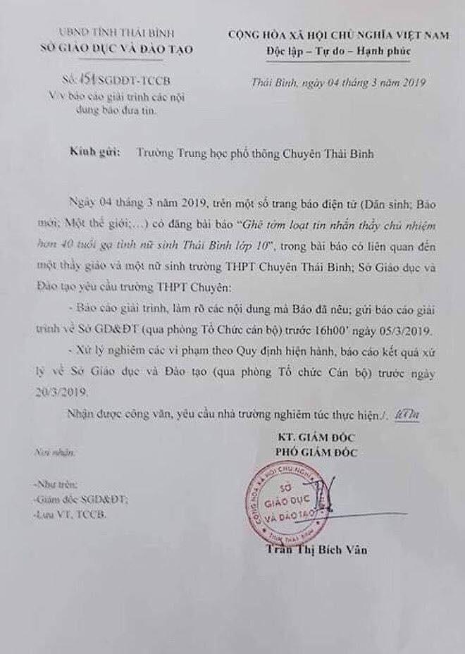 """Nghi án thầy giáo trường chuyên nhắn tin """"gạ tình"""" nữ sinh lớp 10, Sở GD&ĐT Thái Bình yêu cầu làm rõ vụ việc - Ảnh 3."""