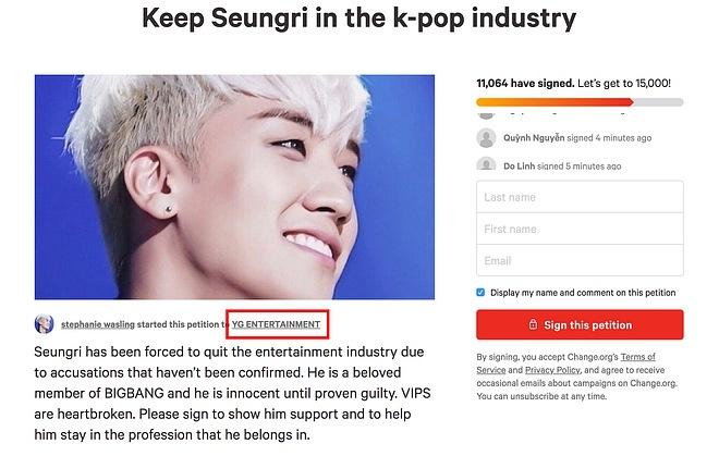 Bản kiến nghị đưa Seungri trở lại showbiz.