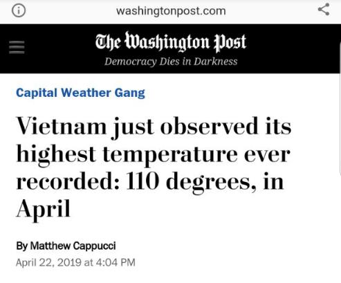 Báo Mỹ công bố đợt nắng nóng tại Việt Nam đã lập kỷ lục mọi thời kỳ, nhưng có thể sẽ nóng hơn nữa trong thời gian tới - Ảnh 1.