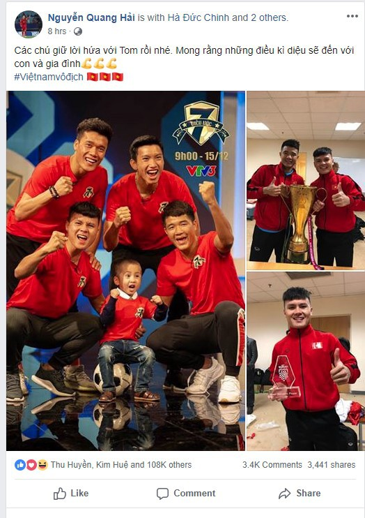 Quang Hải nhắn nhủ đến bé Tom ngay sau khi đội tuyển Việt Nam giành chức vô địch AFF Cup 2018.