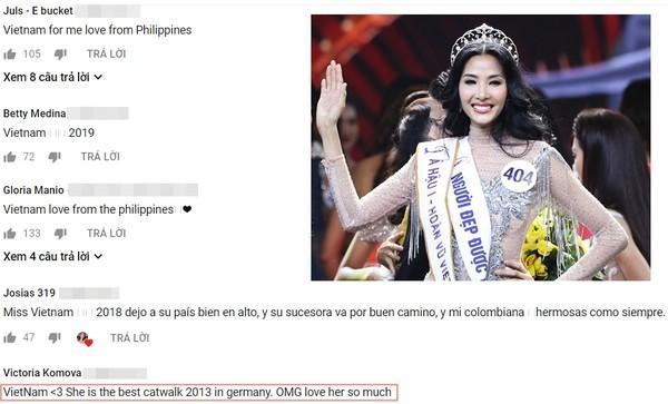 """Fan Philippines ủng hộ Hoàng Thùy. Có bình luận còn """"phát cuồng"""" khi cô nàng từng giành giải Best Catwalk tại Đức năm 2013."""