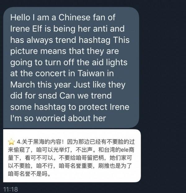 """Một đoạn tweet tin nhắn của một fan ReVeluv với nội dung cho rằng E.L.Fđang dựđịnh thực hiện """"biểnđen"""" khi Red Velvet biểu diễn."""