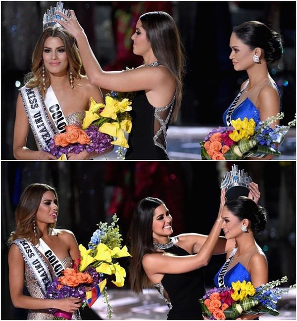 Sự cố này tất cả các fan nhớ đếnMiss Universe 2015 cũng trao nhầm vương miện.