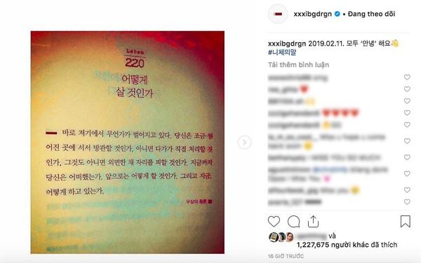 Sau tất cả, cuối cùng thì thủ lĩnh BigBang G-Dragon cũng chịu cập nhật Instagram với loạt bài đăng đầy ẩn ý này