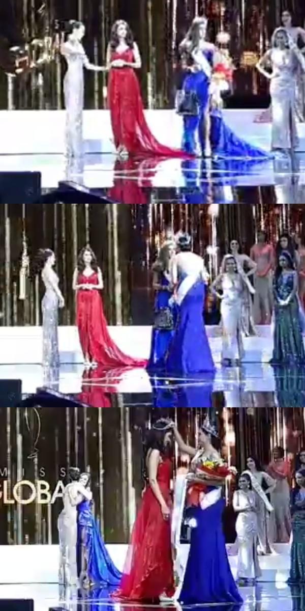 Người trao giải tháo vương miện của thí sinh Canada trao choUzbekistan.