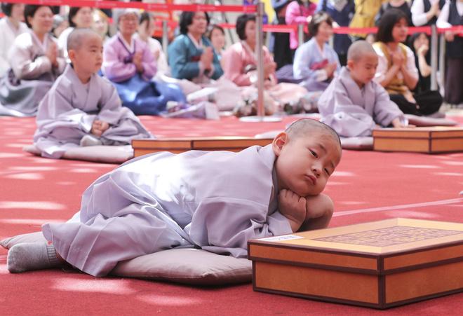 Loạt sắc thái đáng yêu hết nấc của các chú tiểu trong ngày xuống tóc đón lễ Phật Đản ở Hàn Quốc - Ảnh 6.