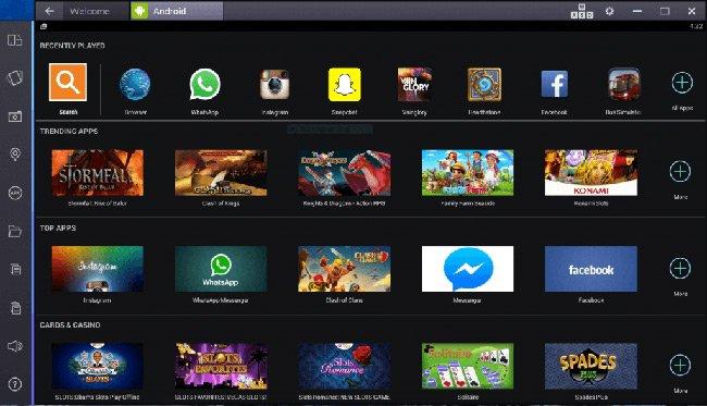 Giao diện của ứng dụng chơi game Android trên máy tính BlueStacks