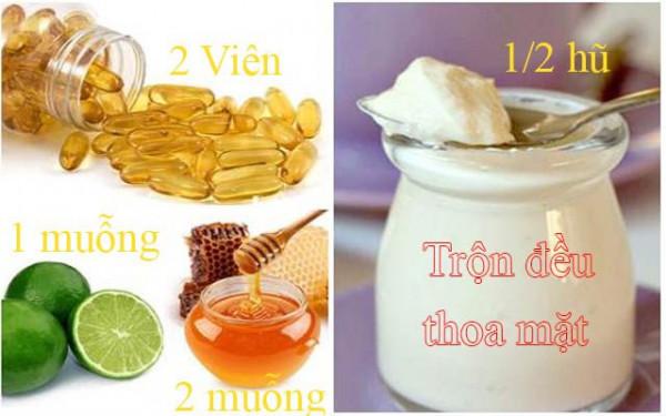 Vitamin trộn với chanh, mật ong và sữa chua không đường